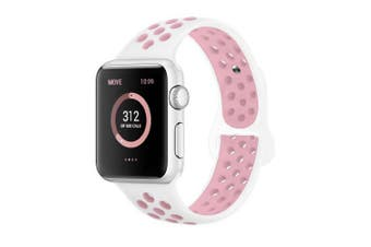 (42mm M/L, White/Light Pink) - AdMaster Compatible for Apple Watch Bands 38mm 42mm,Soft Silicone Replacement Wristband for iWatch Apple Watch Series 1/2/3