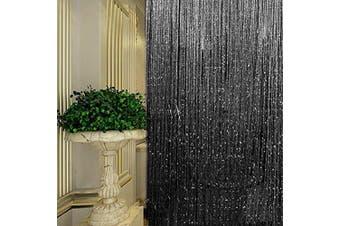 (Black) - String Curtain Panel, Glitter Door Wall Window Doorways Panel Fly Screen Fringe Room Divider Blinds, Decorative Tassel Ribbon Strip Silver Screen for Living room, Bedroom, Party Events (Black)