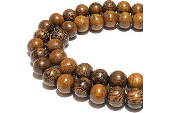 (06mm, Chocolate Robles) - [ABCgems] Chocolate Robles Hardwood (Exquisite Wood Grain) Tiny 6mm Smooth Round Beads for Jewellery Making