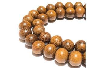 (Madre De Cacao Hardwood) - [ABCgems] Large Hole Philippine Madre De Cacao Hardwood AKA Kakawate (Exquisite Wood Grain) Tiny 6-7mm Smooth Round Organic Tropical Wood Beads
