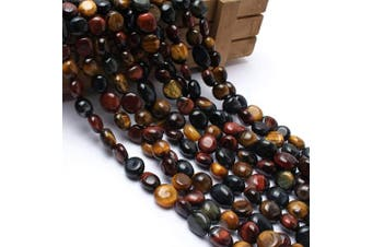 (Multicolor Tiger Eye) - Love Beads Multicolor Tiger Eye Stone Beads Irregular Loose Gemstone Beads 8-11 mm for Jewellery Making