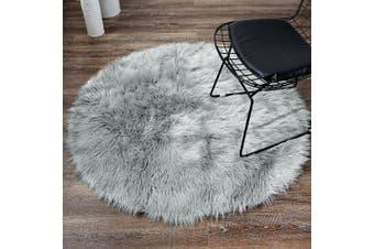 (1.2m-diameter, Grey) - LEEVAN Plush Sheepskin Style Throw Rug Faux Fur Elegant Chic Style Cosy Shaggy Round Rug Floor Mat Area Rugs Home Decorator Super soft Carpets Kids Play Rug, Grey 1.2m Diameter