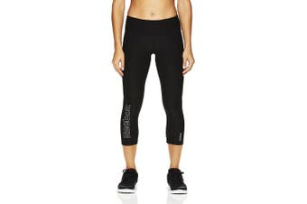 (X-Small, Midnight Black) - Reebok Women's Capri Leggings with High-Rise Waist Performance Compression Tights