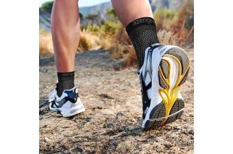 (Black S/M (Women 4-7.5 / Men 6-8)) - Plantar Fasciitis Socks for Men & Women - Best 24/7 Arch Support - Compression Ankle Foot Sleeves