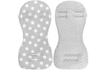 (Grey / Big white stars on grey) - Babymam Universal Dimple Liner Pram Stroller Pad 73x35cm (Grey/Big White Stars on Grey)