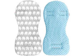 (Blue / Elephants grey) - Babymam Universal Dimple Liner Pram Stroller Pad 73x35cm (Blue/Elephants Grey)