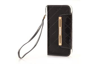 iPhone 7 Wallet Case,TechCode Women Cute Style Candy Colour PU Leather Stand Cover Flip Lady Multi Envelope Wristlet Handbag Wallet Case with Cards Slots Card Holder (iPhone 7, Black-A01)