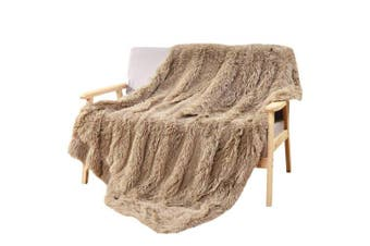 (130cm x 150cm , Beige) - DECOSY Super Soft Faux Fur Couch Blanket Beige 130cm x 150cm - Reversible Puffy Fleece Flannel Shaggy TV Blanket for Sofa Chair Bed - All Season Quilt Fuzzy Comforter - Christmas Gift