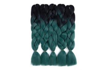 (5pcs, T1B/Dark Green) - Ombre Braiding Hair Black-Dark Green Kanekalon Braiding hair 5Pcs Jumbo Braids Synthetic Hair Extensions 2 Tone Colour (5pcs, T1B/Dark Green)