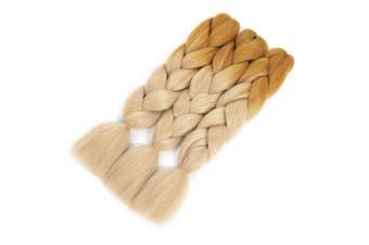 (3pcs, light yellow Blonde) - Ombre Braiding Hair Synthetic Corchet Braids Jumbo Braids Hair Extensions Tone Clolor (3pcs, light yellow Blonde)