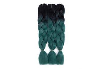 (3pcs, T1B/Dark Green) - Ombre Braiding Hair Black-Dark Green kanekalon hair 3pcs Jumbo Braids Synthetic Hair Extensions 2 Tone Colour (3pcs, T1B/Dark Green)