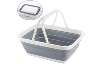 (Basket) - WINGOFFLY Space-saving Collapsible Picnic Basket with Handle(Basket)