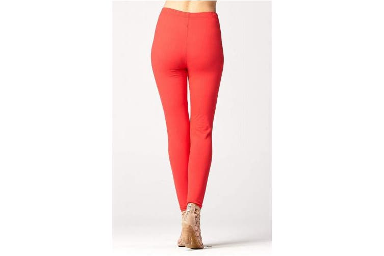 (Plus (12 - 24), Red) - Premium Ultra Soft High Waist Leggings - Regular and Plus Size - Colours