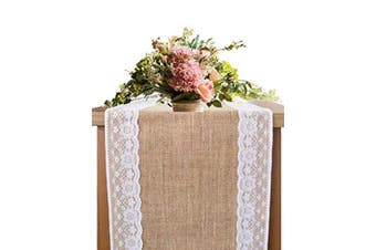 (4 Style 30cm  X 240cm Natural Colour) - OZXCHIXU Burlap Lace Hessian Table Runner, Rustic Natural Jute Country Wedding Party Dining Table Decoration 30cm x 240cm