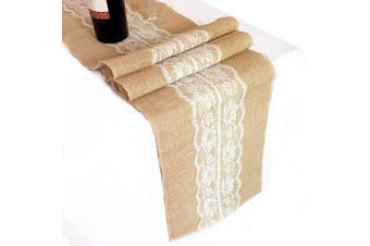 (5 Style 30cm  x 300cm  Ivory) - OZXCHIXU Burlap & Lace Hessian Jute Table Runner For Wedding Party Decor (30cm x 300cm Ivory)