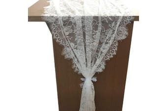 (6 Style 80cm  x 300cm  White lace) - OZXCHIXU 1 Packs, 80cm x 300cm White Classy Lace Table Runner/Overlay, Spring Summer Decor Rustic Chic Wedding Reception Table Decor, Table Runner, Boho Party Decoration, Bridal Shower Decor
