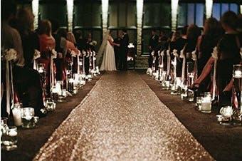 (24Inchx4.6m, Rose Gold) - TRLYC Sequin Wedding Party Carpet Runner Sequin Wedding Aisle Runner 60cm x 4.6m Rose Gold