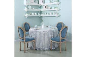 (180cm , Silver) - Zdada 180cm Silver Shimmer Sparkly Sequin Table Cloth For Wedding Home Decor Glitz Sequin Table Cover