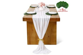 (1 piece, White) - B-COOL Chiffon Table Runners 70cm x 300cm White Chiffon Wedding Table Runners for Rustic Romantic Wedding Table Decor Bridal Shower Baby Shower Party Decor
