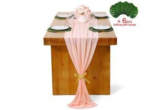 (1 piece, Light Peach) - B-COOL Light Peach Chiffon Table Runner 70cm x 300cm Soft Chiffon Table Linens for Wedding Baby Shower Party Table Decor