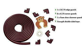 (Brown) - Corner Protectors and Edge Bumpers- 5m/20ft [16.5ft Edge Guards + 8 Corner Guards] Baby Safety Furniture Bumpers & Corner Cushions; Baby Proofing Table Edge Protector for Furniture (Brown)