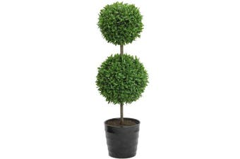 Admired By Nature 46cm Tall Artificial Tabletop English Boxwood Double Ball Shaped Topiary Plant in Plastic Pot, Green