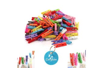 Carykon 100 Pcs 3.6cm Mini Colourful Natural Wooden Photo Paper Holder Peg Pin Clothespin Craft Clips, Assorted Colours