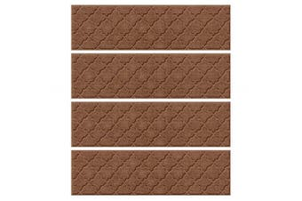(Stair Treads, 22cm  x 80cm , Dark Brown) - Bungalow Flooring Waterhog Stair Treads, Set of 4, 20cm - 1.3cm x 80cm , Skid Resistant, Easy to Clean, Catches Water and Debris, Cordova Collection, Dark Brown