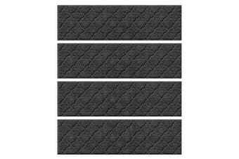 (Stair Treads, 22cm  x 80cm , Charcoal) - Bungalow Flooring Waterhog Stair Treads, Set of 4, 20cm - 1.3cm x 80cm , Skid Resistant, Easy to Clean, Catches Water and Debris, Cordova Collection, Charcoal