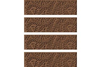 (Stair Treads, 22cm  x 80cm , Dark Brown) - Bungalow Flooring Waterhog Stair Treads, Set of 4, 22cm x 80cm , Durable and Decorative Floor Covering, Made in USA, Indoor/Outdoor, Water-Trapping, Boxwood Collection, Dark Brown