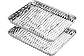 (2x12inch with rack) - Stainless Steel Baking Sheets with Rack, HKJ Chef Cookie Sheets and Nonstick Cooling Rack & Baking Pans for Oven & Toaster Oven Tray Pans, Rectangle Size 12L x 11W x 1H inch & Non Toxic & Healthy