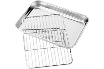 (9inch) - Baking sheets and Rack Set, Zacfton Cookie pan with Nonstick Cooling Rack & Cookie sheets Rectangle Size 9 x 18cm x 2.5cm ,Stainless Steel & Non Toxic & Healthy,Superior Mirror Finish & Easy Clean
