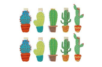 Bestowal 10Pcs Wooden Clips - Cute Cactus Wooden Pegs Crafts Photo Clips with Rope for Home Office Classroom Party Decoration
