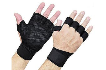 (Large) - Full Palm Protection Grip Cross Training Weightlifting WODs Bodybuilding Exercise Weight Lifting Fitness Gym Gloves for Pull Ups