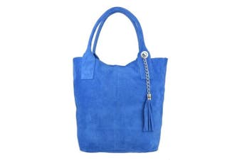 (Royal Blue) - Craze London New Womens Genuine Leather Handbags Open Top Real Italian Suede Leather Shoulder Bag Vera Pelle