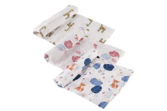 Tosnail Set of 3 Muslin Baby Swaddle Blankets, Super Soft Touch - 120cm x 120cm - Giraffe/Elephant/Foxes