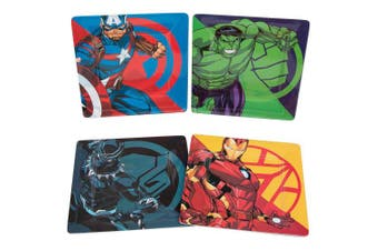 Marvel Avengers Plate Set of 4 - Black Panther, Captain America, Iron Man and Hulk - Dishwasher Safe - Durable Melamine