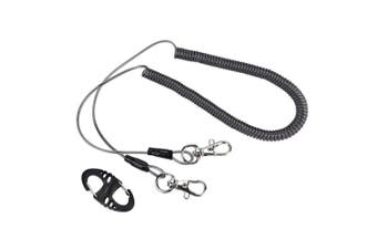 VGEBY Fishing Lanyards, Stainless Steel Wire Fishing Retractable Coiled Tether Safety Rope Wire Coil Lanyard With Clip Buckle