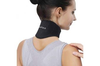 (Black) - Medical Grade Neck Support Brace Strap for Neck Pain Relief and Bone Relaxer with Self Heating Neck Wrap and Tourmaline Adjustable Cervical Collar for Physical Therapy, Arthritis, Headaches
