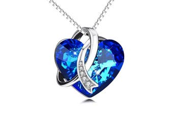 Necklace for Women Blue Love Heart Pendant 925 Sterling Silver with ® Crystals Jewellery Gifts for Her