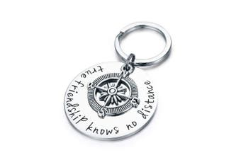 CJ & M Best Friend Keychain - True Friendship Knows No Distance Compass Keychain Long Distance Relationship Gifts