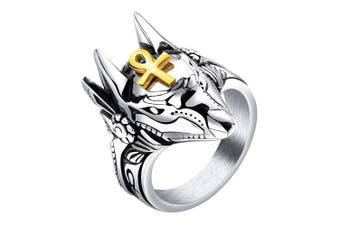 (P 1/2) - ALEXTINA Men's Stainless Steel Ancient Egyptian Ankh Cross Anubis Ring Wolf Statement Band
