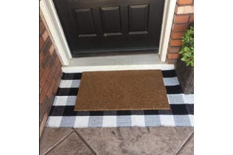 Levinis Buffalo Cheque Rug - Cotton Washable Porch Rugs Door Mat Hand-Woven Chequered Plaid Rug for Doorway/Kitchen/Bathroom/Entry Way/Laundry Room/Bedroom 0.6m x 0.9m, Black and White