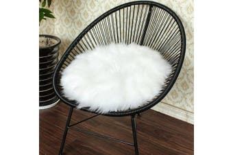 (40cm  x 40cm , White) - Junovo Premium Soft Round Faux Fur Sheepskin Seat Cushion Chair Cover Plush Rugs for Bedroom,40cm x 40cm ,White
