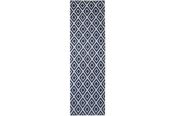 (0.6m2.1m x 2.1m7, Black - White) - Mylife Rugs Potenza Collection Contemporary Modern Geometric Non Slip (Non-Skid) Machine Washable Runner Rug (0.6m2.1m x 2.1m Black - White)