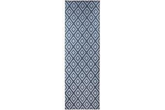 (0.6m2.1m x 2.1m7, Grey - White) - Mylife Rugs Potenza Collection Contemporary Modern Geometric Non Slip (Non-Skid) Machine Washable Runner Rug (0.6m2.1m x 2.1m Grey - White)