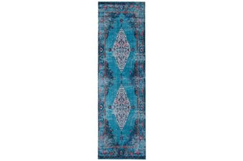 (0.6m2.1m x 2.1m7, Red - Turquoise) - Mylife Rugs Imperia Collection Vintage Traditional Non Slip Area Rugs for Living Room, Bedroom, Kitchen, and Hallway (0.6m2.1m x 2.1m Red - Turquoise)