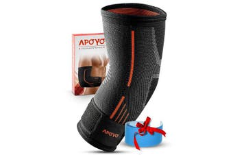 (Large) - APOYO Elbow Brace Compression Sleeve, Athletic Elbow Support for Basketball, Weightlifting, More, Tendonitis Brace With Adjustable Strap & Bonus Elastic Therapeutic Tape, Great for Workouts & Sports