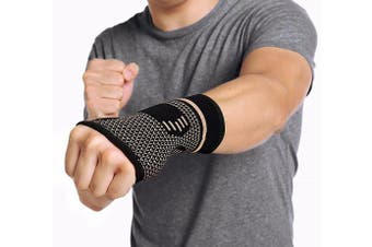 (Medium, One Pair) - CFR Copper Wrist Support Compression Sleeves Guaranteed Braces for Carpal Tunnel, RSI, Cubital Tunnel, Tendonitis, Arthritis, Wrist Sprains Support & Recovery
