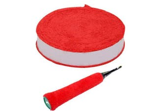 (Red) - Zaptex 1000cm /Roll Cotton Towel Grip Tennis Overgrips Badminton Racquet OverGrip Sweatband Anti-Skid Sweat Tape Absorbed Wraps